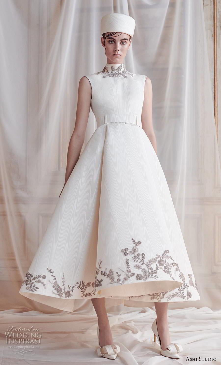 ashi studio fall winter 2019 bridal sleeveless high neck simple heavily embellished hem elegant tea length short wedding dress (6) mv