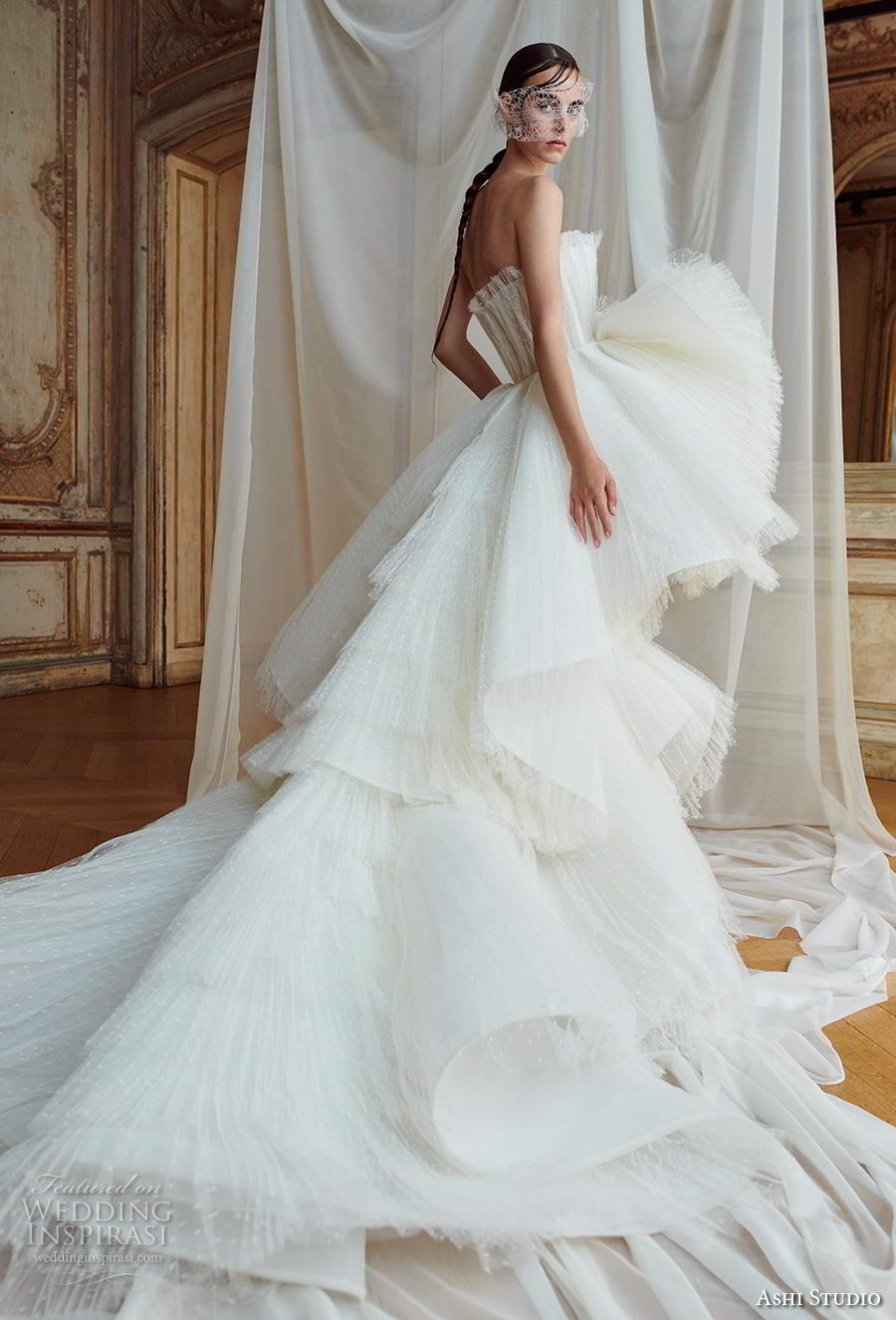 ashi studio fall winter 2019 bridal strapless crumb catcher full embellishment tiered skirt glamorous ball gown a  line wedding dress chapel train (2) bv