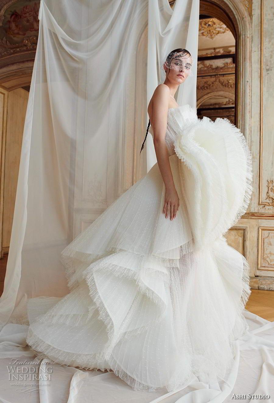 ashi studio fall winter 2019 bridal strapless crumb catcher full embellishment tiered skirt glamorous ball gown a  line wedding dress chapel train (2) mv