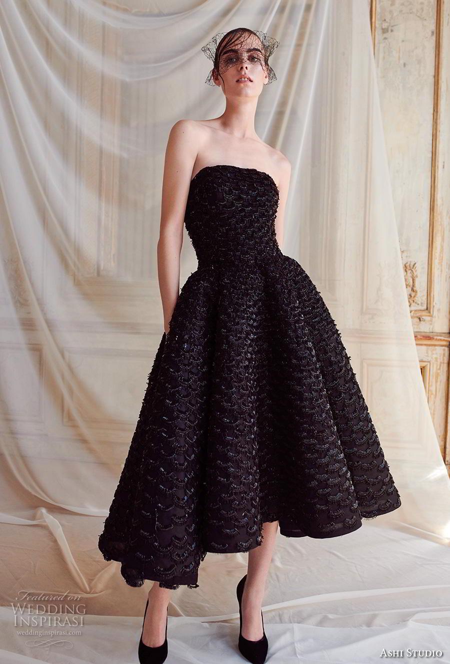 ashi studio fall winter 2019 bridal strapless straight across neckline full embellishment black tea length short wedding dress (12) mv