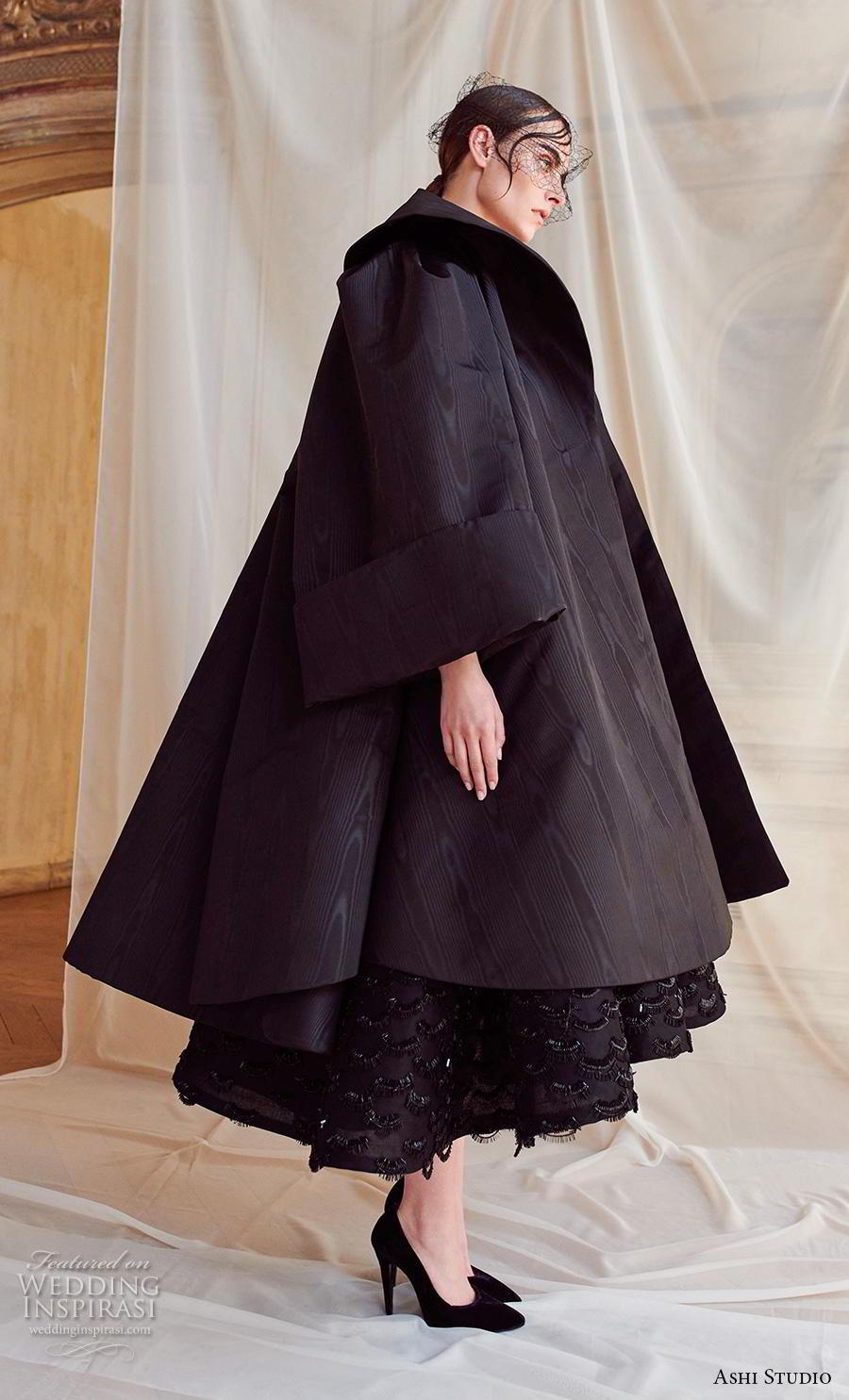 ashi studio fall winter 2019 bridal strapless straight across neckline full embellishment black tea length short wedding dress with jacket (12) sdv