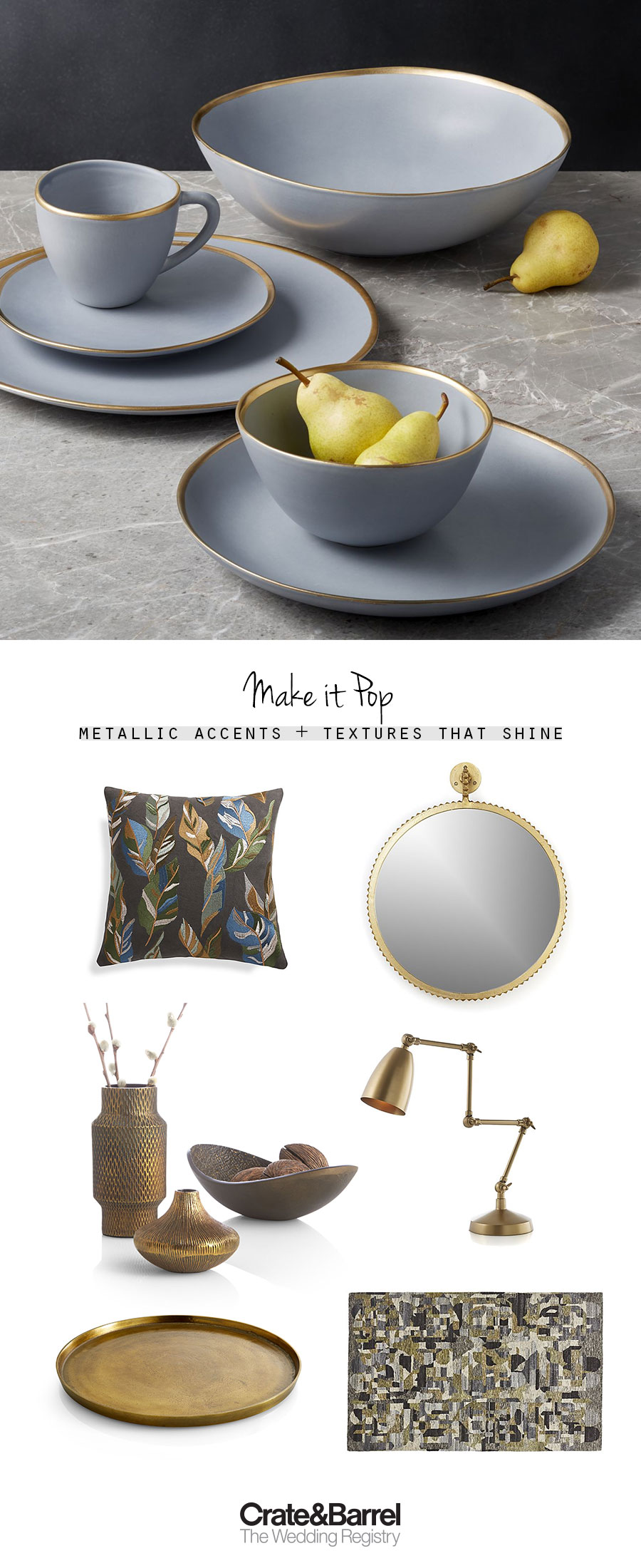 crate and barrel the wedding registry blue gold texture picks