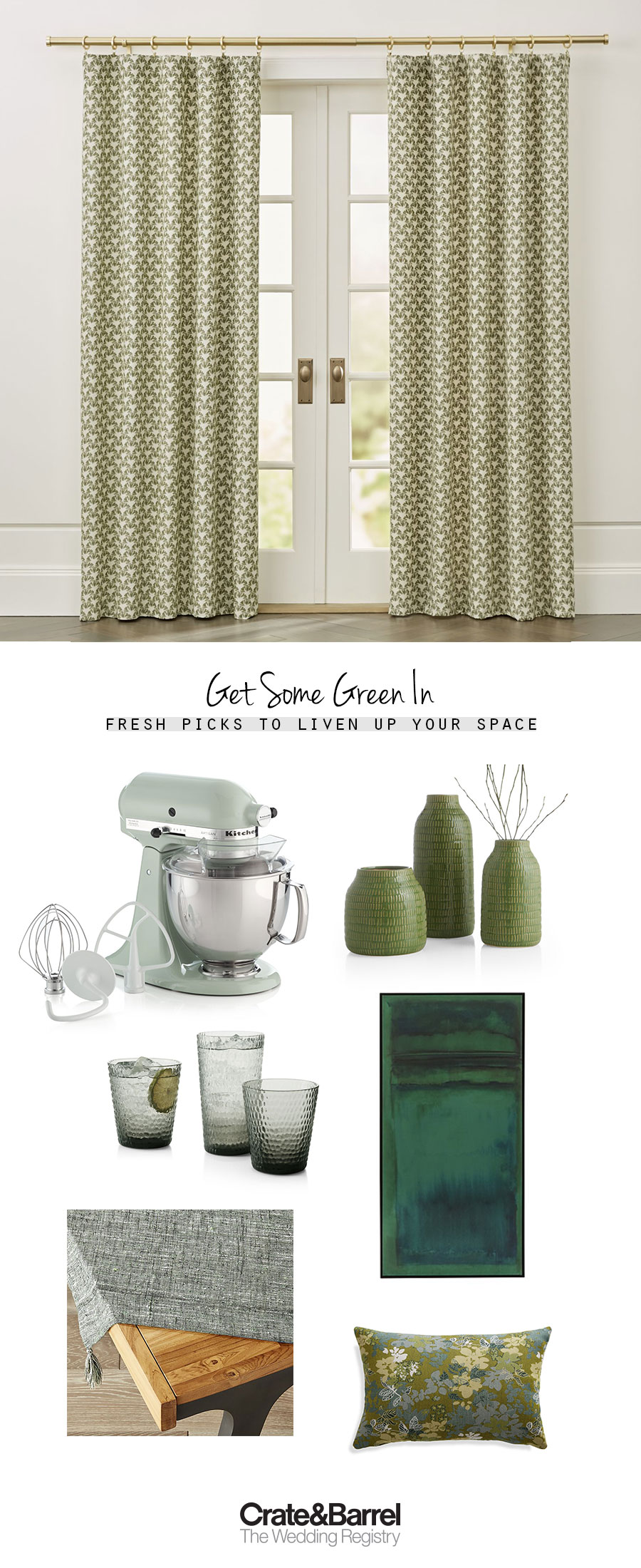 crate and barrel the wedding registry green botanical picks