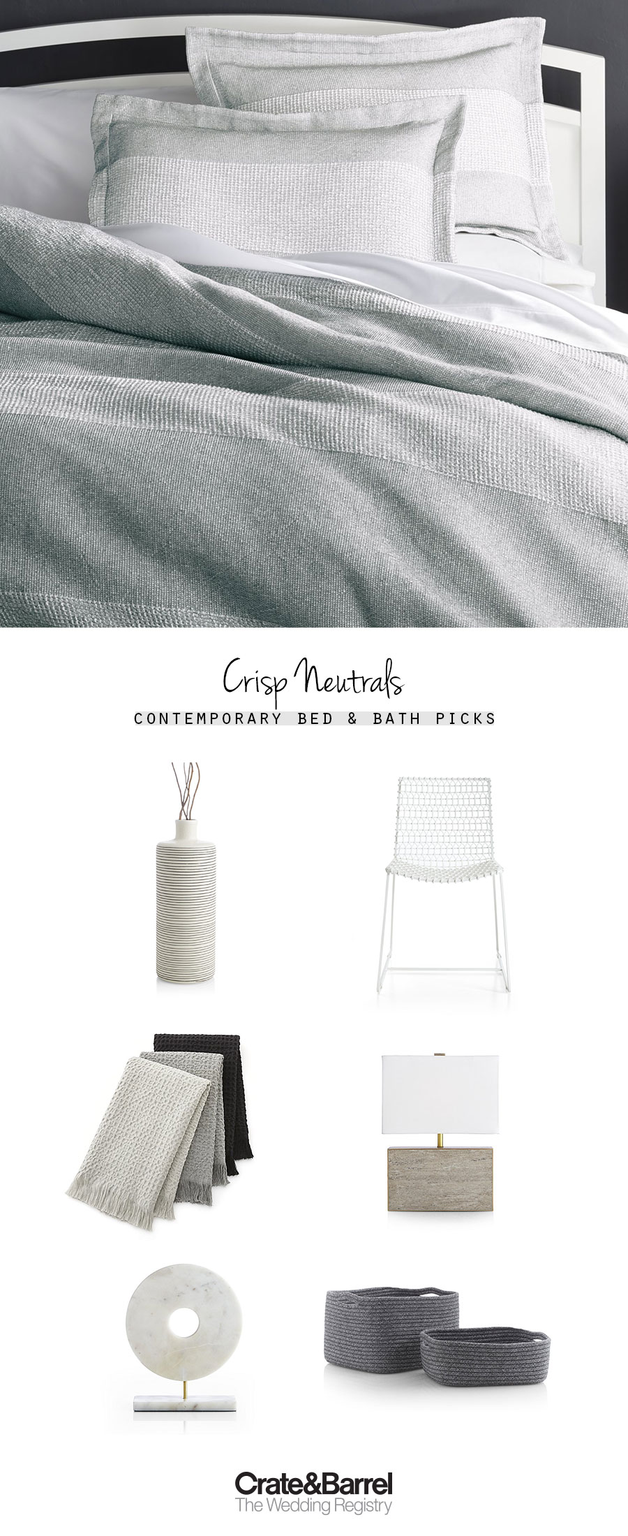 crate and barrel the wedding registry grey gray bed bathroom