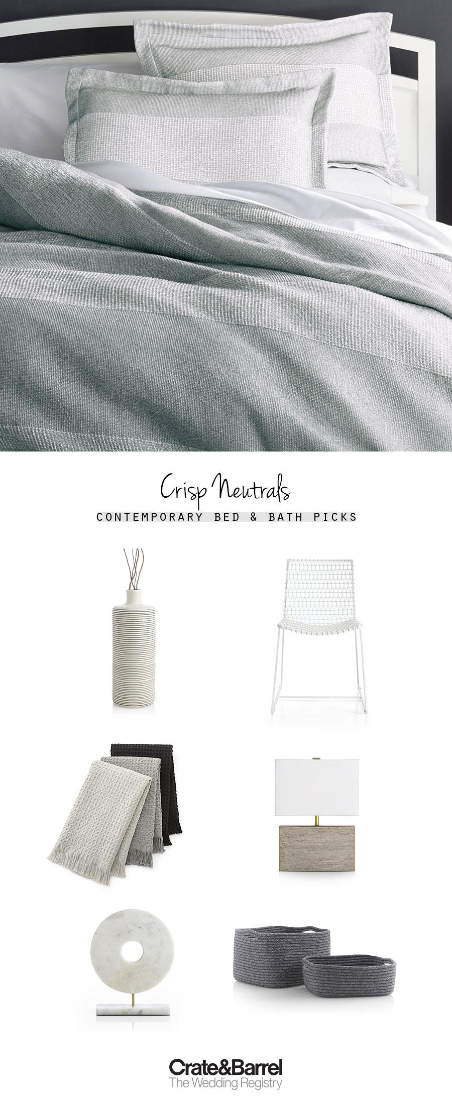 crate and barrel the wedding registry grey gray bed bathroom