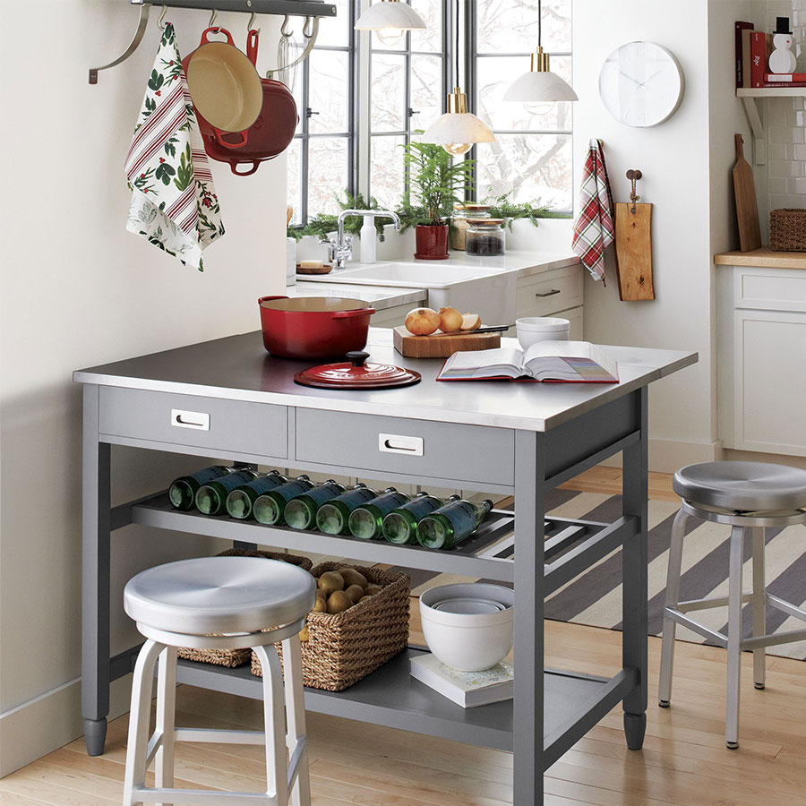 crate and barrel the wedding registry small space entertaining sheridan grey kitchen island