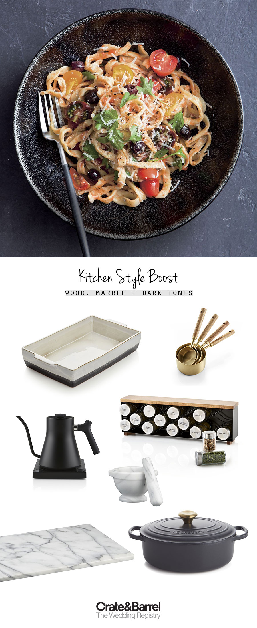 crate and barrel the wedding registry wood marble matt black cafe style kitchen picks