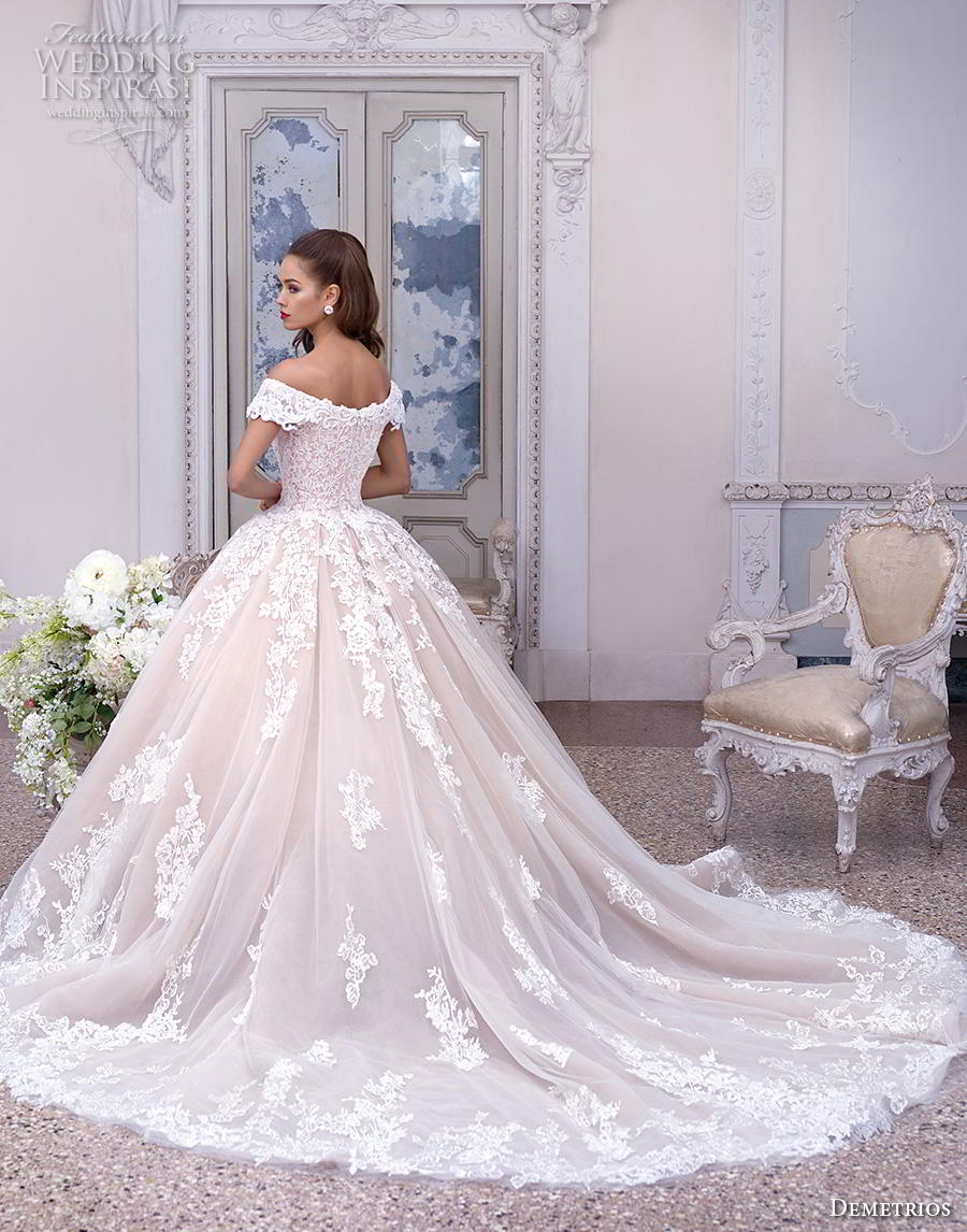 demetrios 2019 bridal cap sleeves off the shoulder v neck heavily embellished bodice hem blush princess ball gown a  line wedding dress chapel train (2) bv