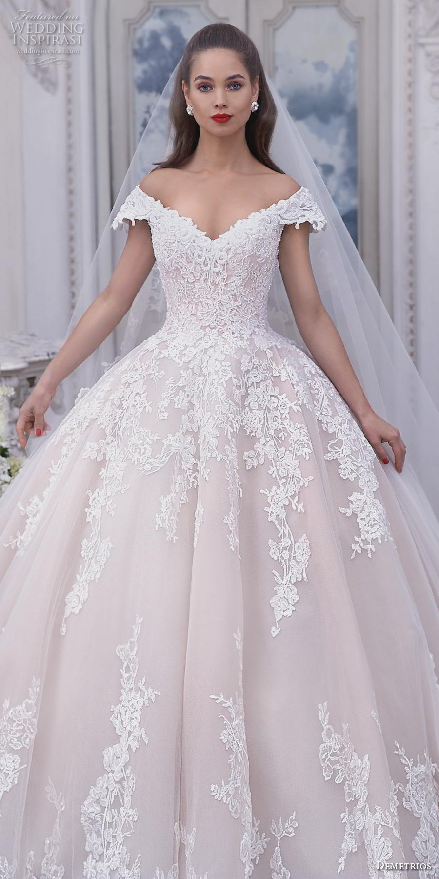 demetrios 2019 bridal cap sleeves off the shoulder v neck heavily embellished bodice hem blush princess ball gown a  line wedding dress chapel train (2) lv