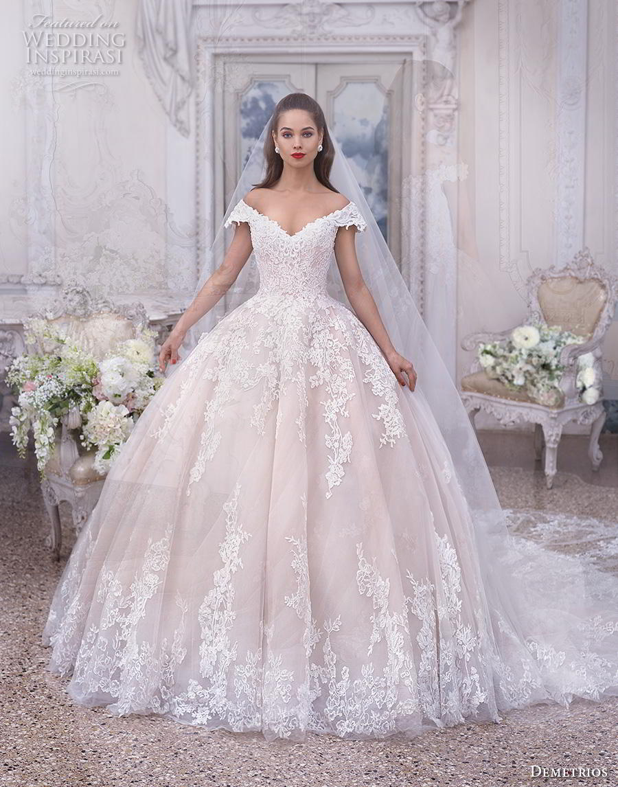 demetrios 2019 bridal cap sleeves off the shoulder v neck heavily embellished bodice hem blush princess ball gown a  line wedding dress chapel train (2) mv