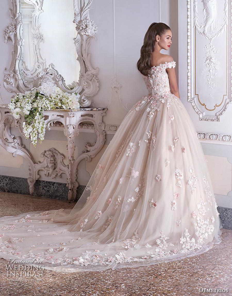 demetrios 2019 bridal off the shoulder sweetheart neckline full embellishment romantic princess pink ball gown a  line wedding dress chapel train (1) bv