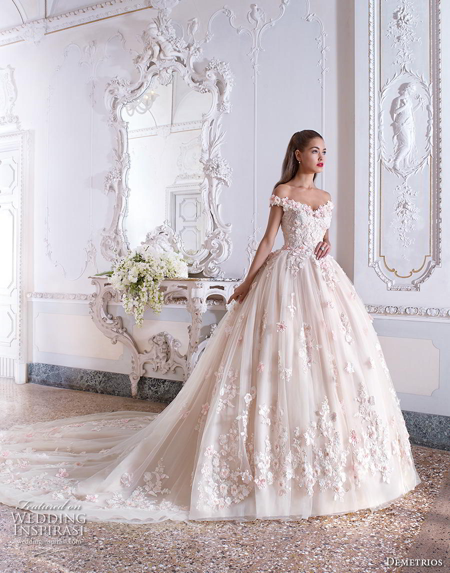 demetrios 2019 bridal off the shoulder sweetheart neckline full embellishment romantic princess pink ball gown a  line wedding dress chapel train (1) mv