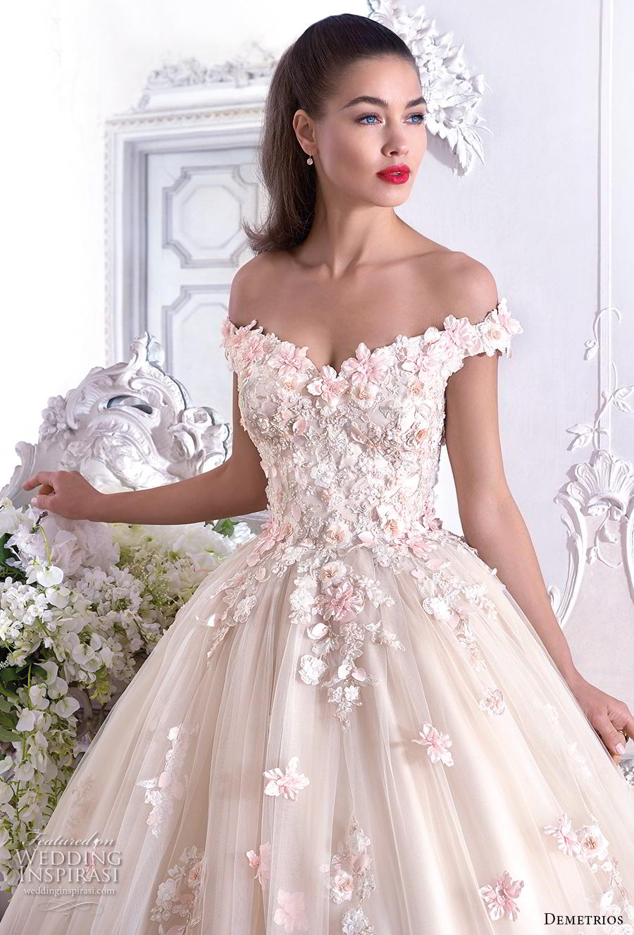 demetrios 2019 bridal off the shoulder sweetheart neckline full embellishment romantic princess pink ball gown a  line wedding dress chapel train (1) zv