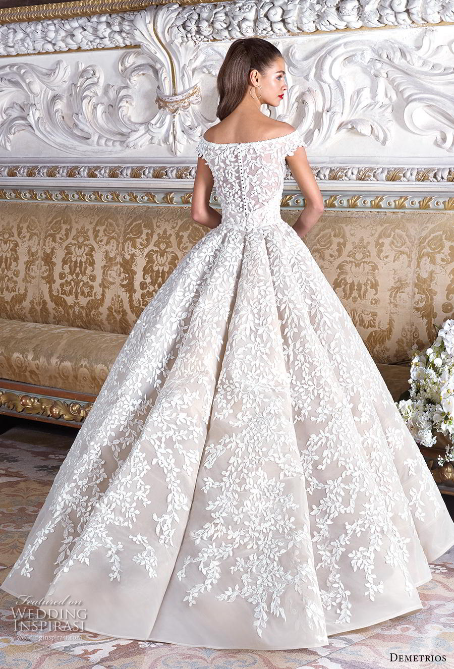demetrios 2019 bridal off the shoulder v neck full embellishment romantic princess ball gown a  line wedding dress sweep train (9) bv