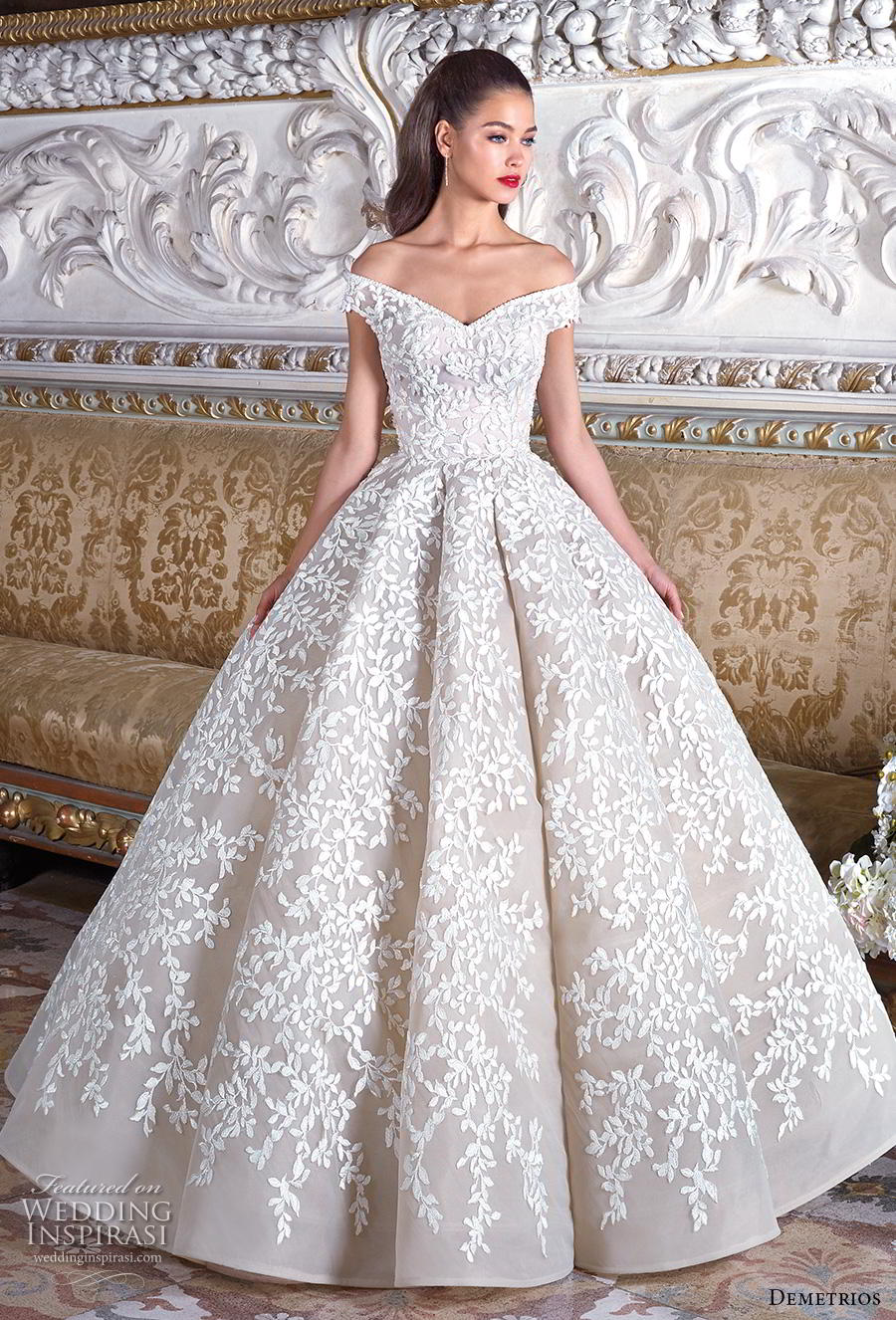 demetrios 2019 bridal off the shoulder v neck full embellishment romantic princess ball gown a  line wedding dress sweep train (9) mv