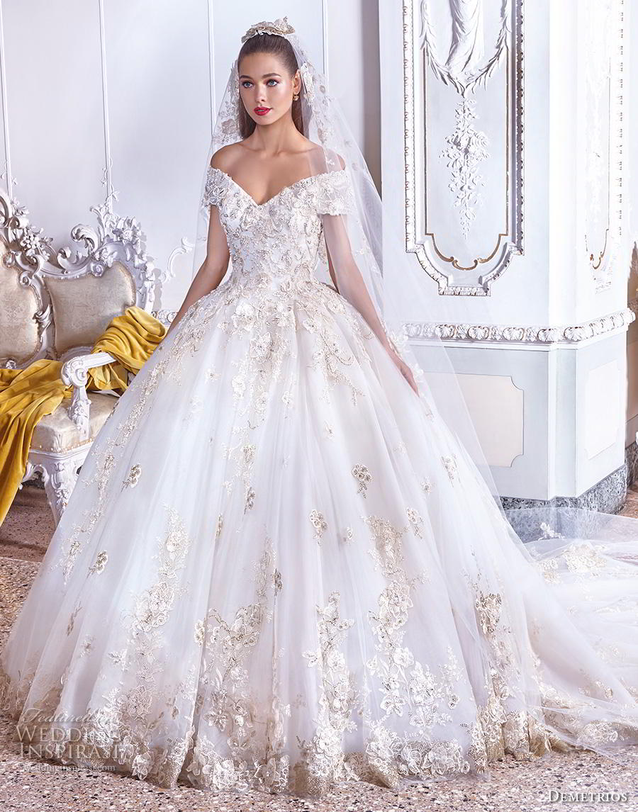 demetrios 2019 bridal off the shoulder v neck heavily embellished bodice hem gltizy princess ball gown a  line wedding dress royal train (13) mv