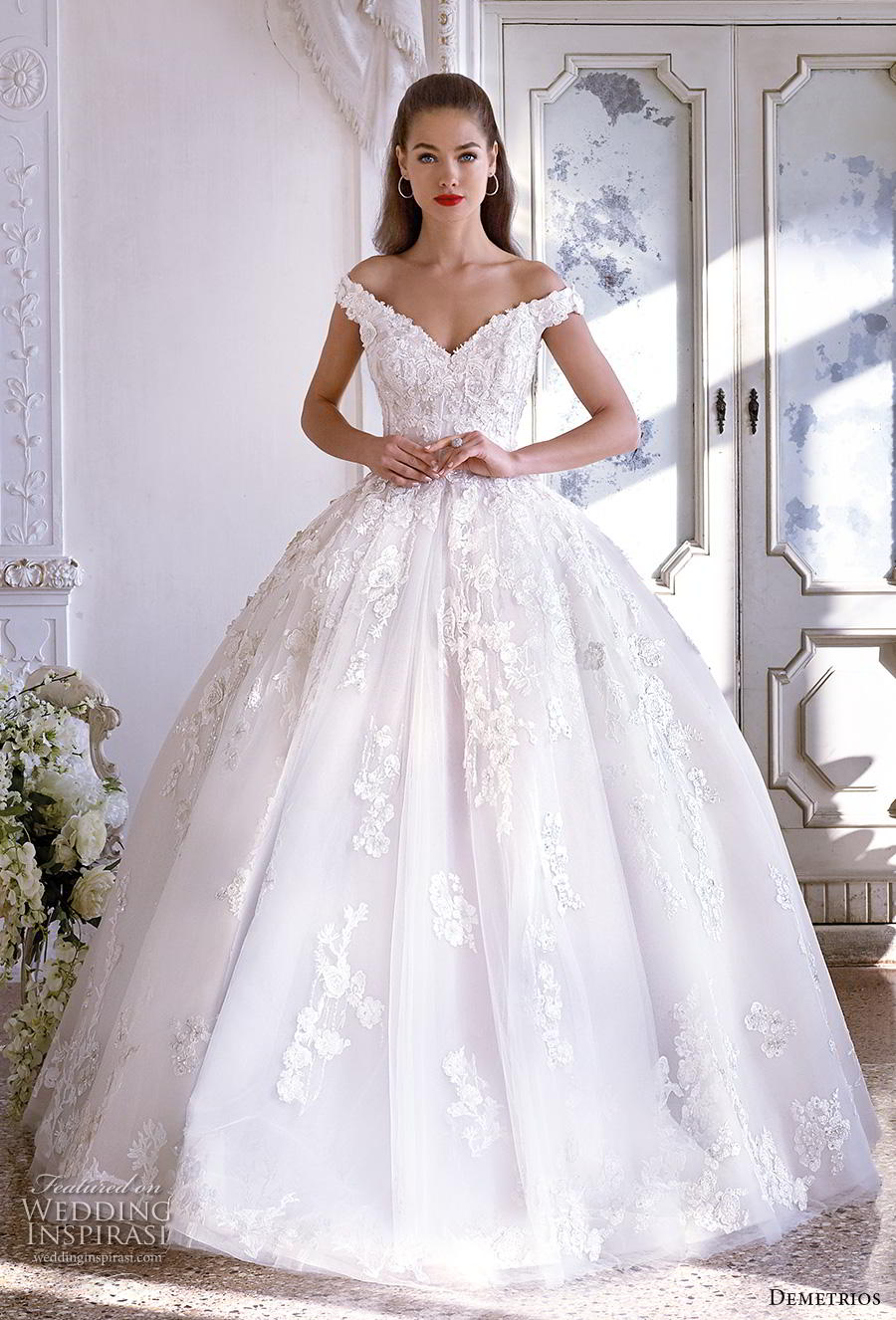 demetrios 2019 bridal off the shoulder v neck heavily embellished bodice princess romantic ball gown a  line wedding dress royal train (18) mv