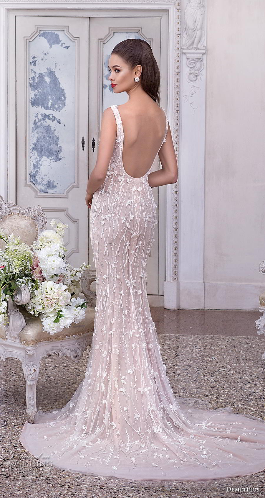 demetrios 2019 bridal sleeveless deep plunging v neck full emebllishment glamorous elegant sheath fit and flare wedding dress backless sccop back medium train (16) bv