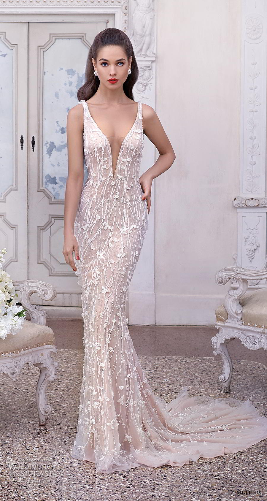 demetrios 2019 bridal sleeveless deep plunging v neck full emebllishment glamorous elegant sheath fit and flare wedding dress backless sccop back medium train (16) mv