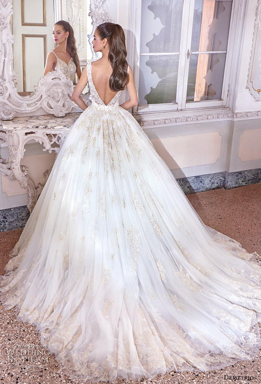 demetrios 2019 bridal sleeveless deep v neck heavily embellished bodice glitzy glamorous princess ball gown a  line wedding dress backless v back chapel train (14) bv