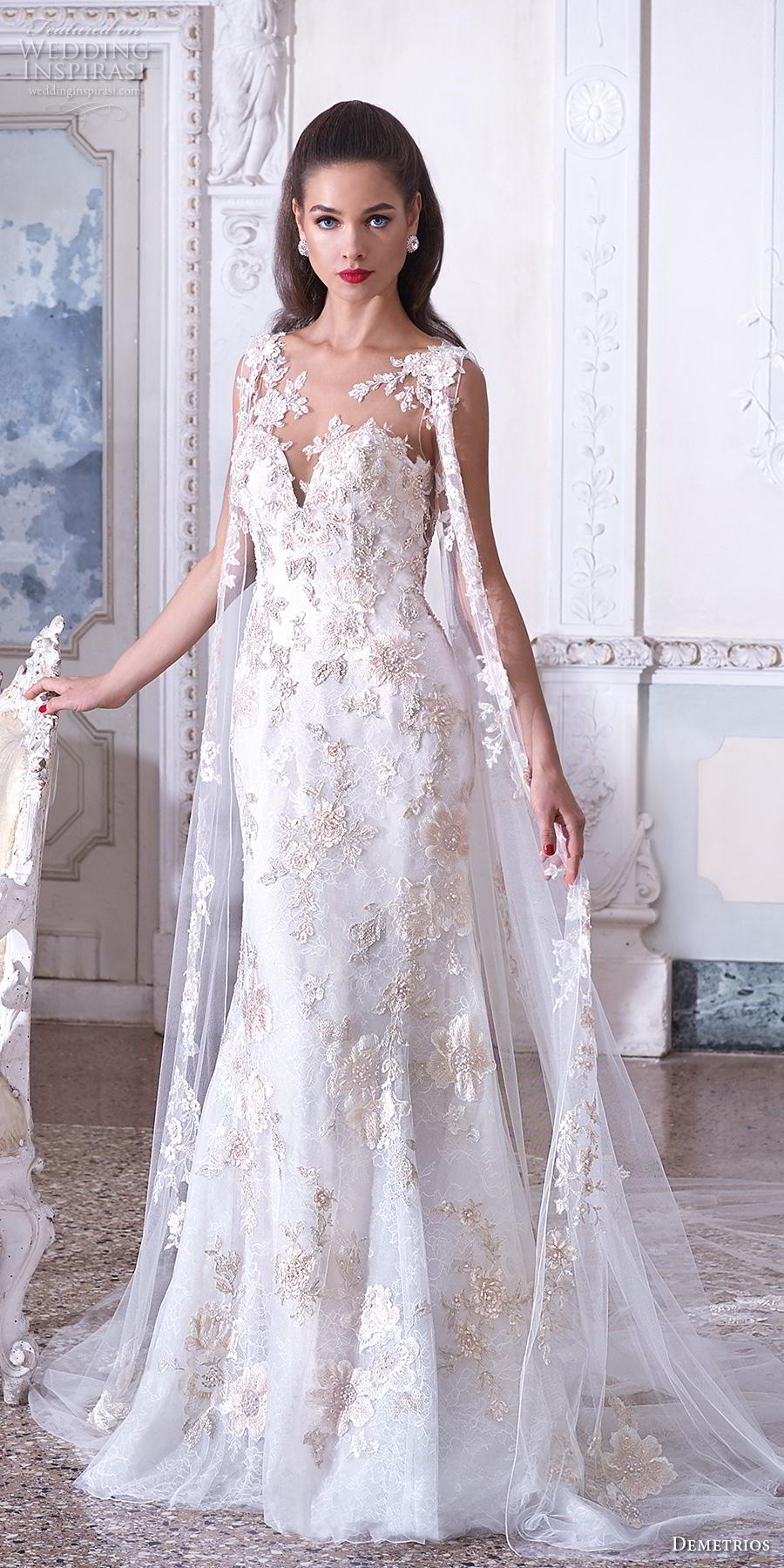 demetrios 2019 bridal sleeveless illusion bateau deep sweetheart neckline full embellishment glamorous elegant fit and flare trumpet wedding dress with cape sheer button back sweep train (3) mv