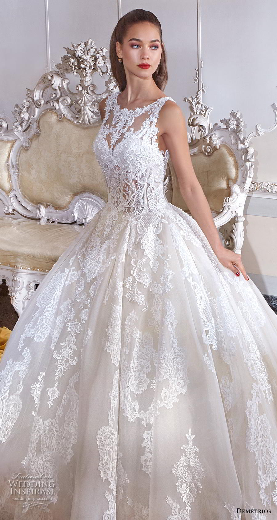 demetrios 2019 bridal sleeveless illusion bateau sweetheart neckline full embellishment princess ball gown a  line wedding dress lace back chapel train (7) zv