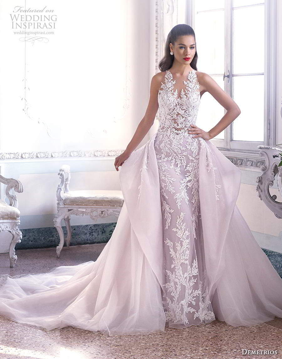 demetrios 2019 bridal sleeveless v neck full embellishment elegant glamorous fit and flare wedding dress a  line overskirt sheer button back chapel train (4) mv