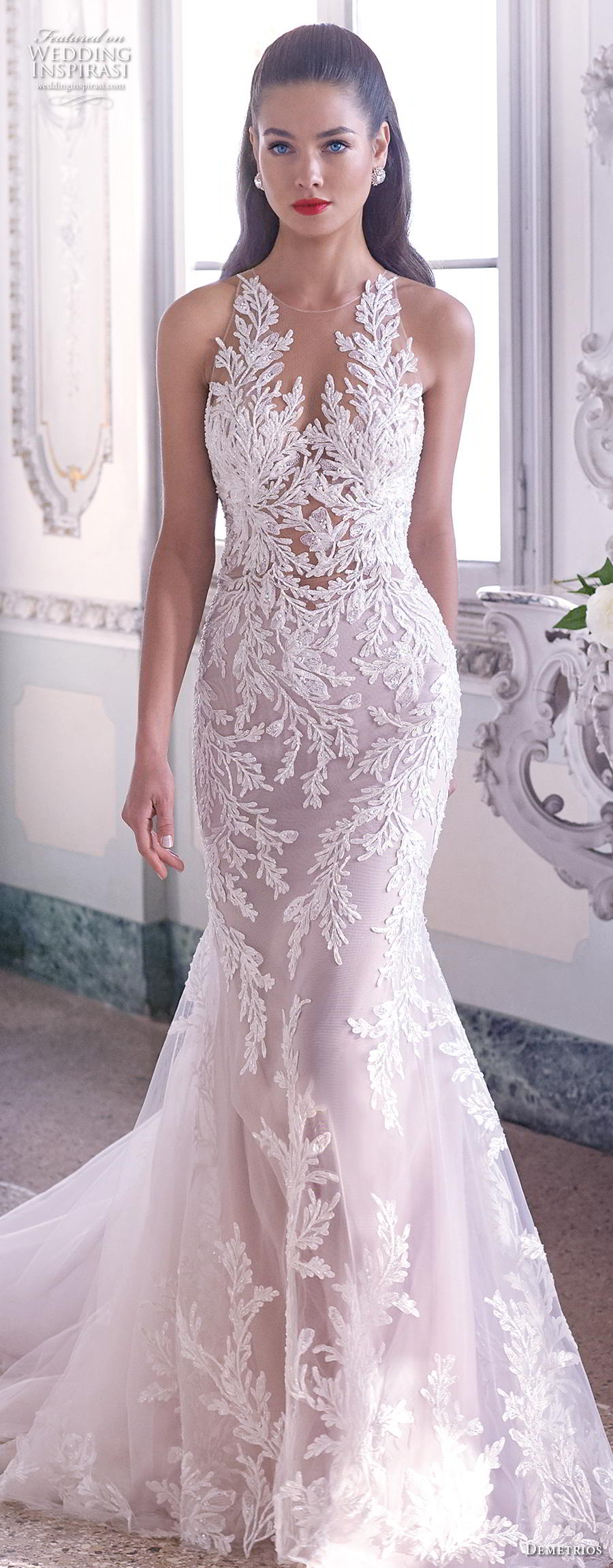 demetrios 2019 bridal sleeveless v neck full embellishment elegant glamorous fit and flare wedding dress sheer button back chapel train (4) lv