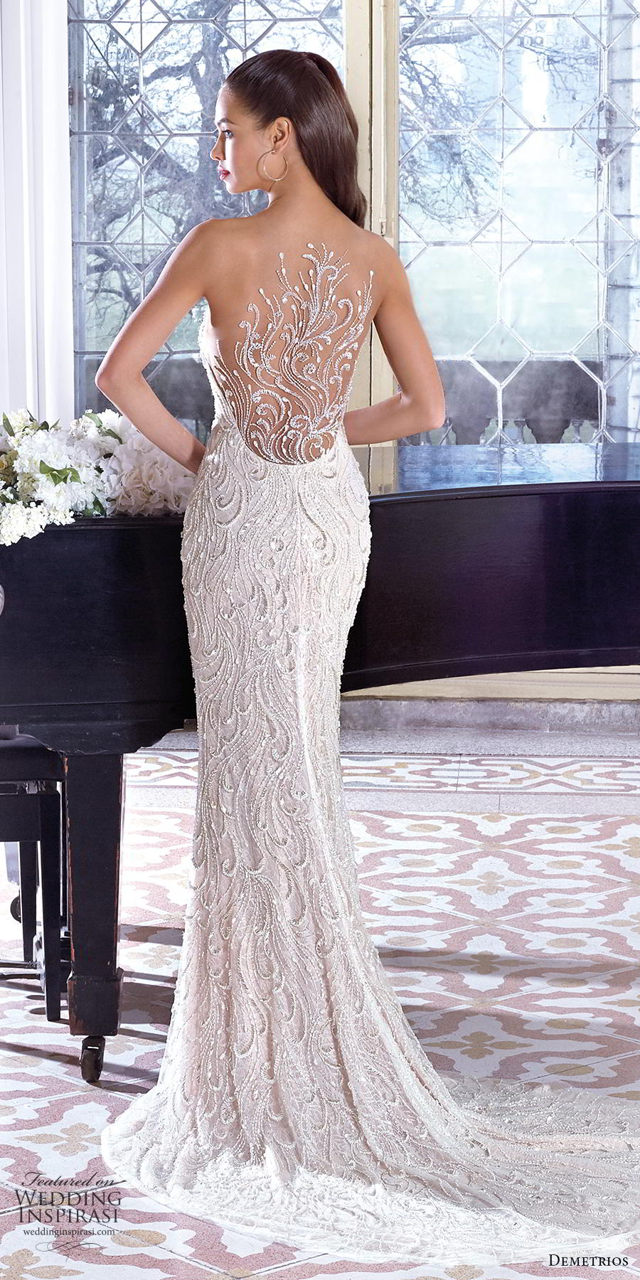 demetrios 2019 bridal strapless sweetheart neckline full embellishment elegant glamorous fit and flare sheath wedding dress embellished back short train (8) bv