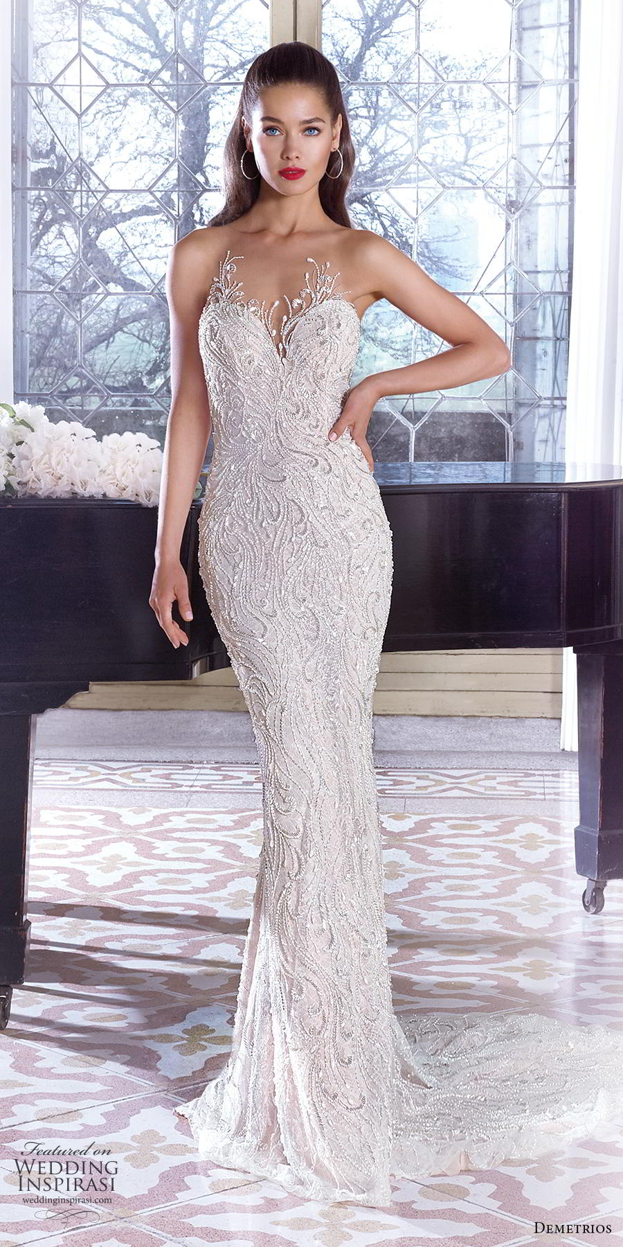 demetrios 2019 bridal strapless sweetheart neckline full embellishment elegant glamorous fit and flare sheath wedding dress embellished back short train (8) mv