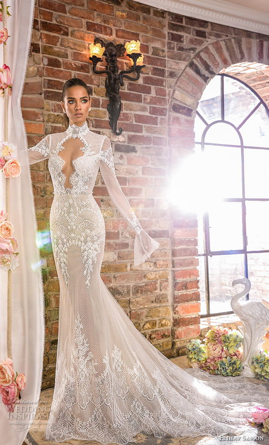 elihav sasson 2019 bridal long poet sleeves high neck keyhole bodice full embellishment elegant fit and flare wedding dress keyhole back chapel train (6) mv