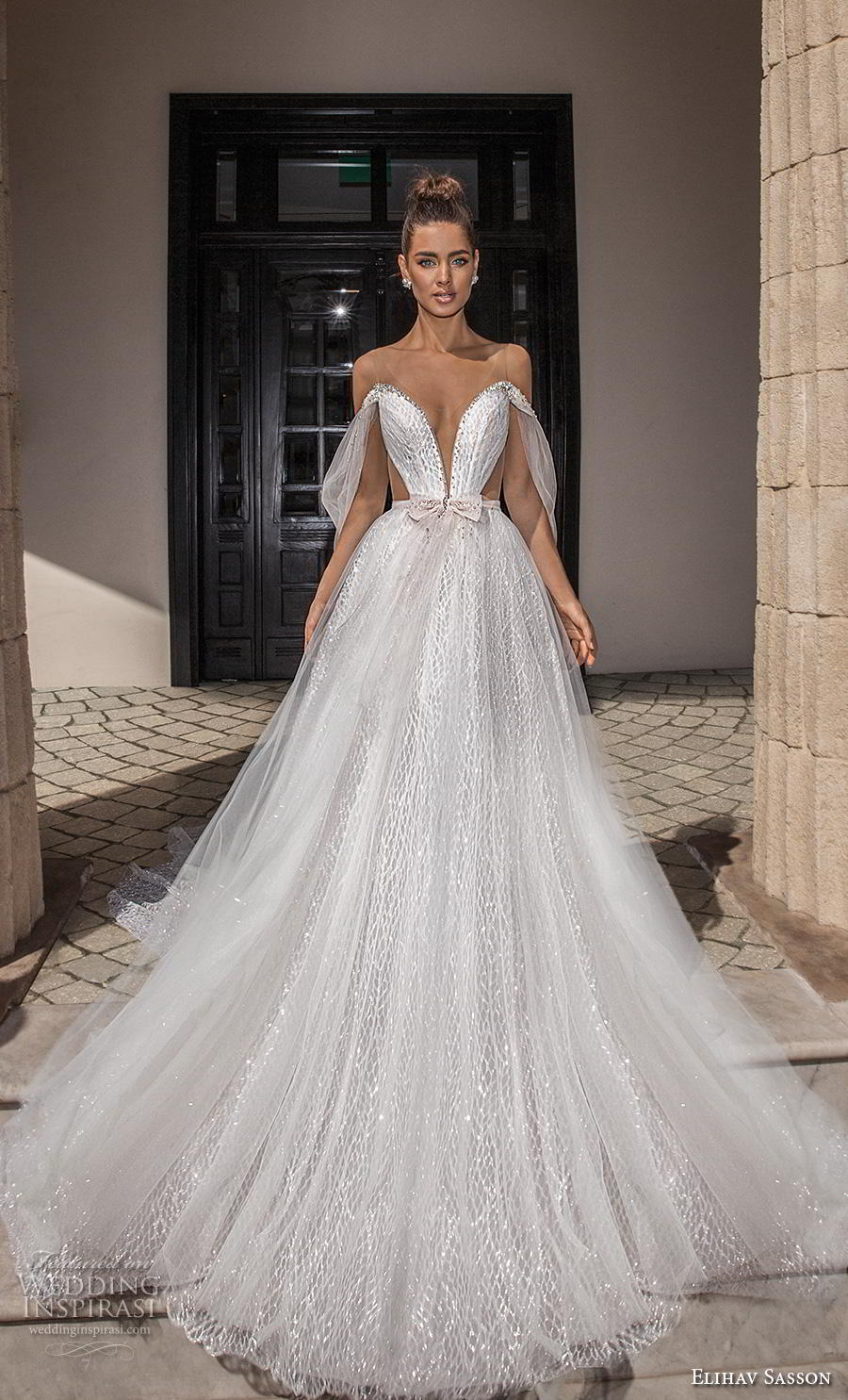 elihav sasson 2019 bridal off the shoulder deep plunging v neck full embellishment romantic a line wedding dress backless scoop back chapel train (16) mv