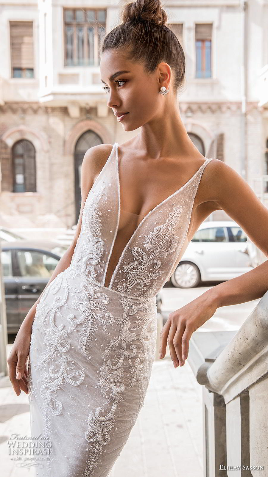elihav sasson 2019 bridal sleeveless deep plunging sweetheart neckline heavily embellished bodice elegant sexy fit and flare wedding dress chapel train (3) zv