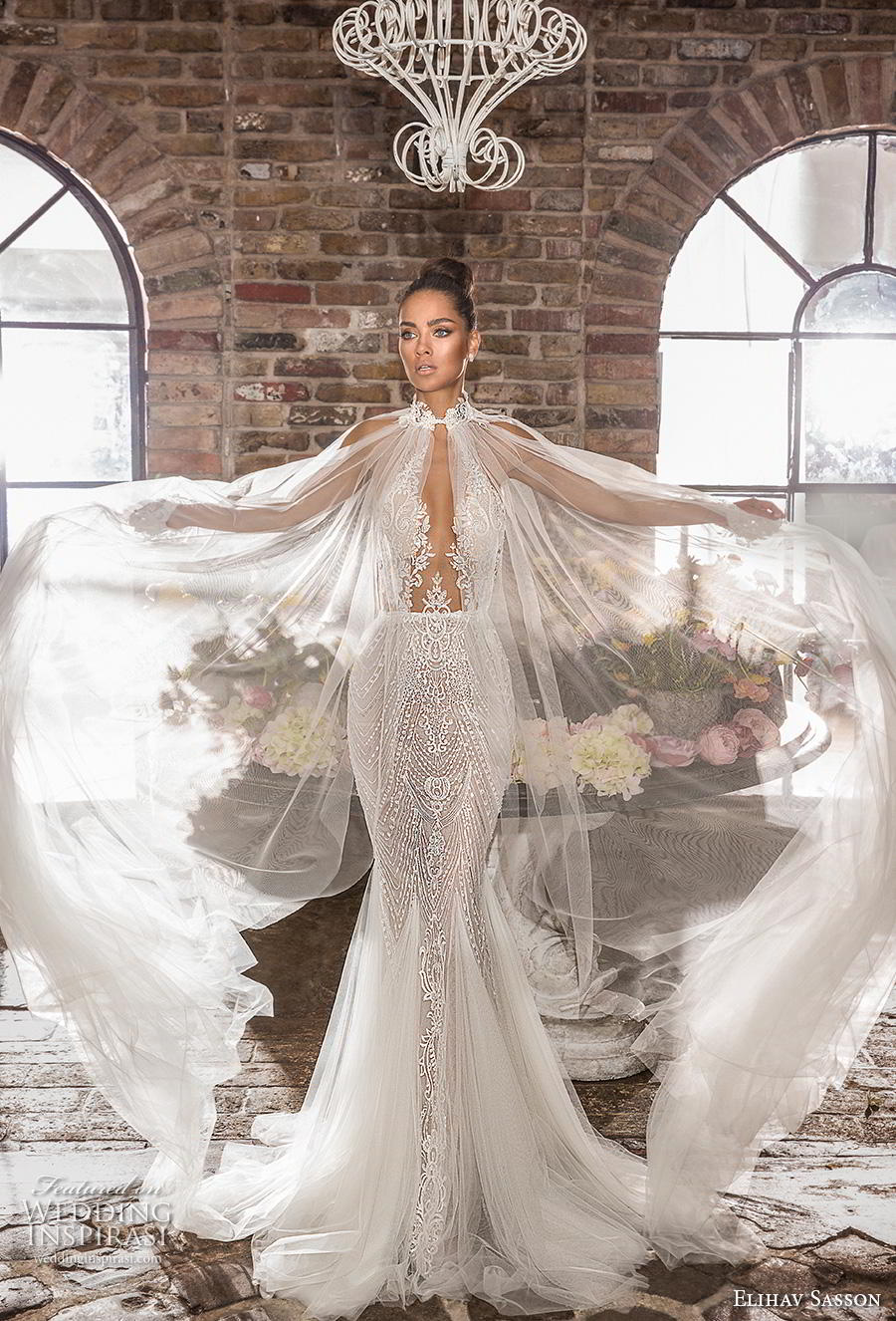 elihav sasson 2019 bridal sleeveless halter neck deep plunging keyhole bodice full embellishment elegant sexy fit and flare mermaid wedding dress keyhole back chapel train (1) mv