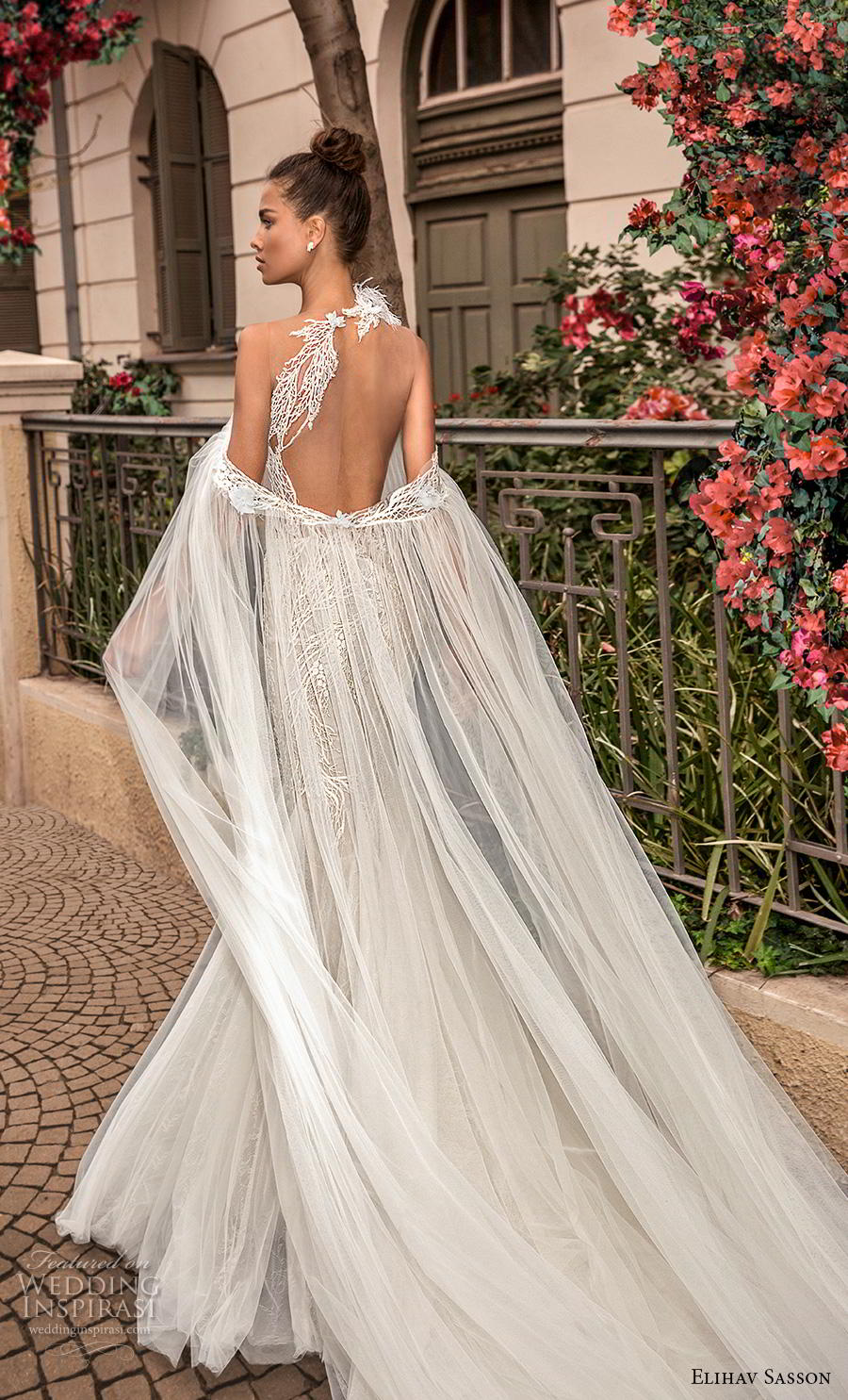 elihav sasson 2019 bridal sleeveless halter neck heavily embellished bodice elegant mermaid wedding dress keyhole back chapel train (19) bv