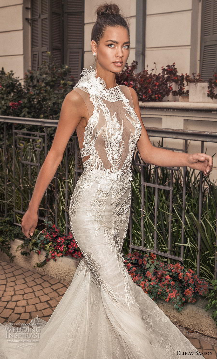 elihav sasson 2019 bridal sleeveless halter neck heavily embellished bodice elegant mermaid wedding dress keyhole back chapel train (19) mv zv