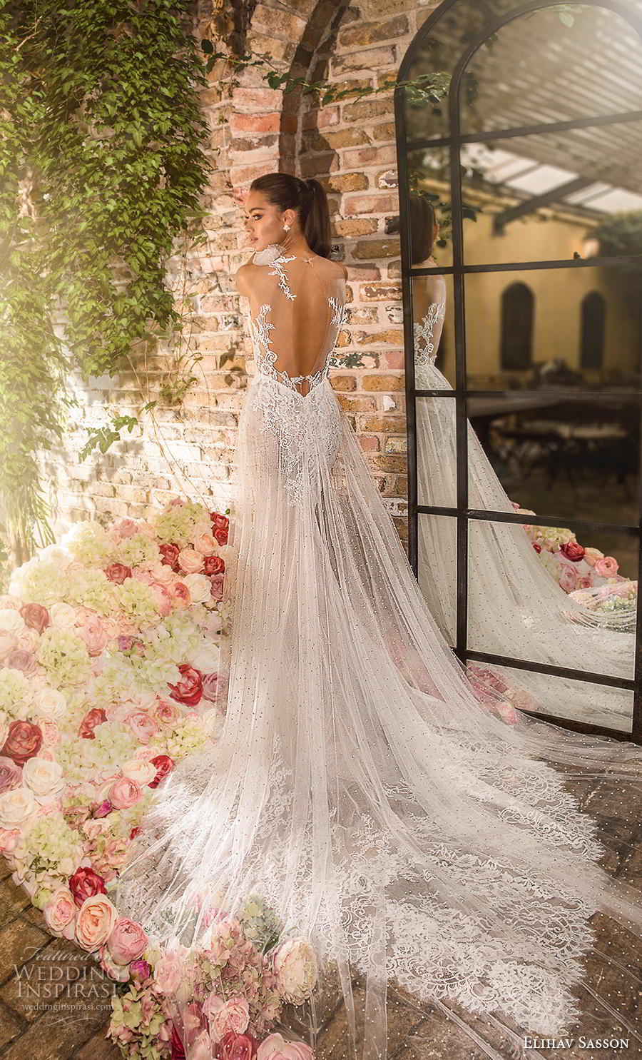 elihav sasson 2019 bridal sleeveless one shoulder heavily embellished bodice elegant fit and flare sheath wedding dress keyhole back chapel train (9) bv