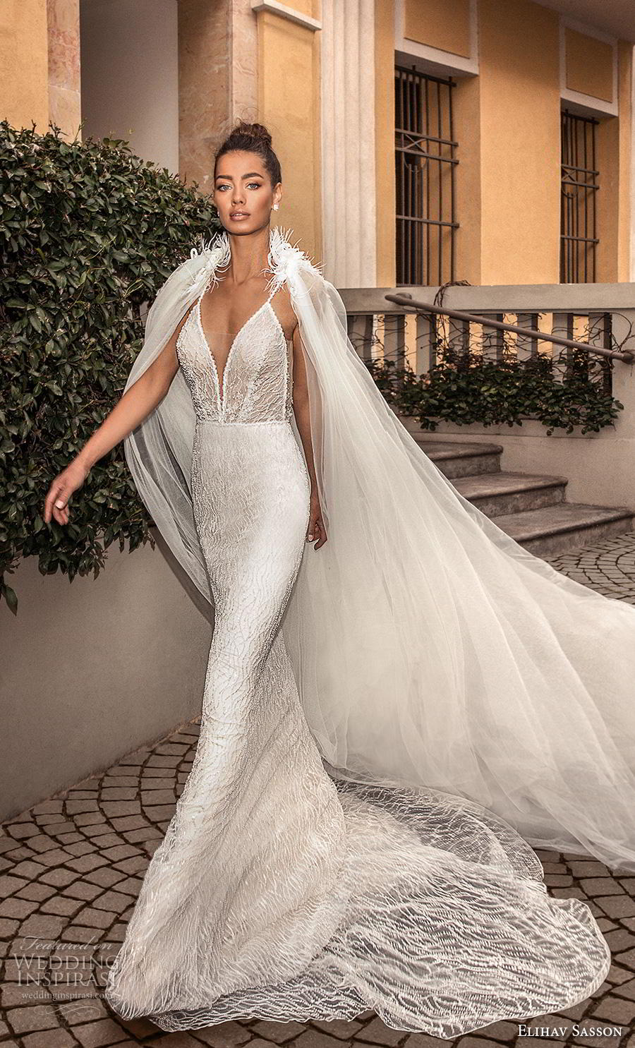 elihav sasson 2019 bridal sleeveless spaghetti strap deep plunging sweetheart neckline full embellishment elegant sexy sheath fit and flare wedding dress chapel train (21) mv