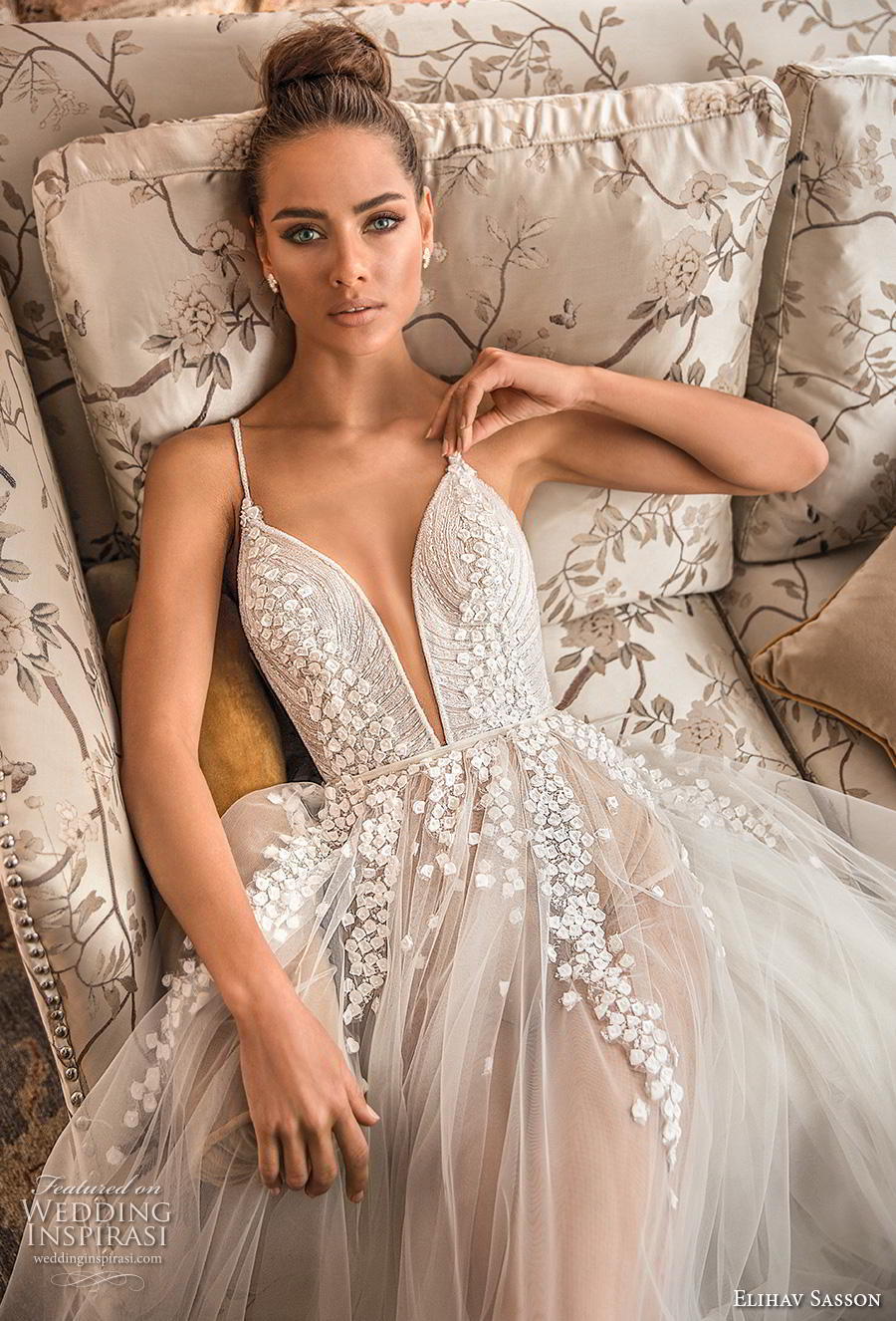 elihav sasson 2019 bridal sleeveless spaghetti strap deep plunging sweetheart neckline heavily embellished bodice tulle skirt romantic soft a line wedding dress (2) zv mv
