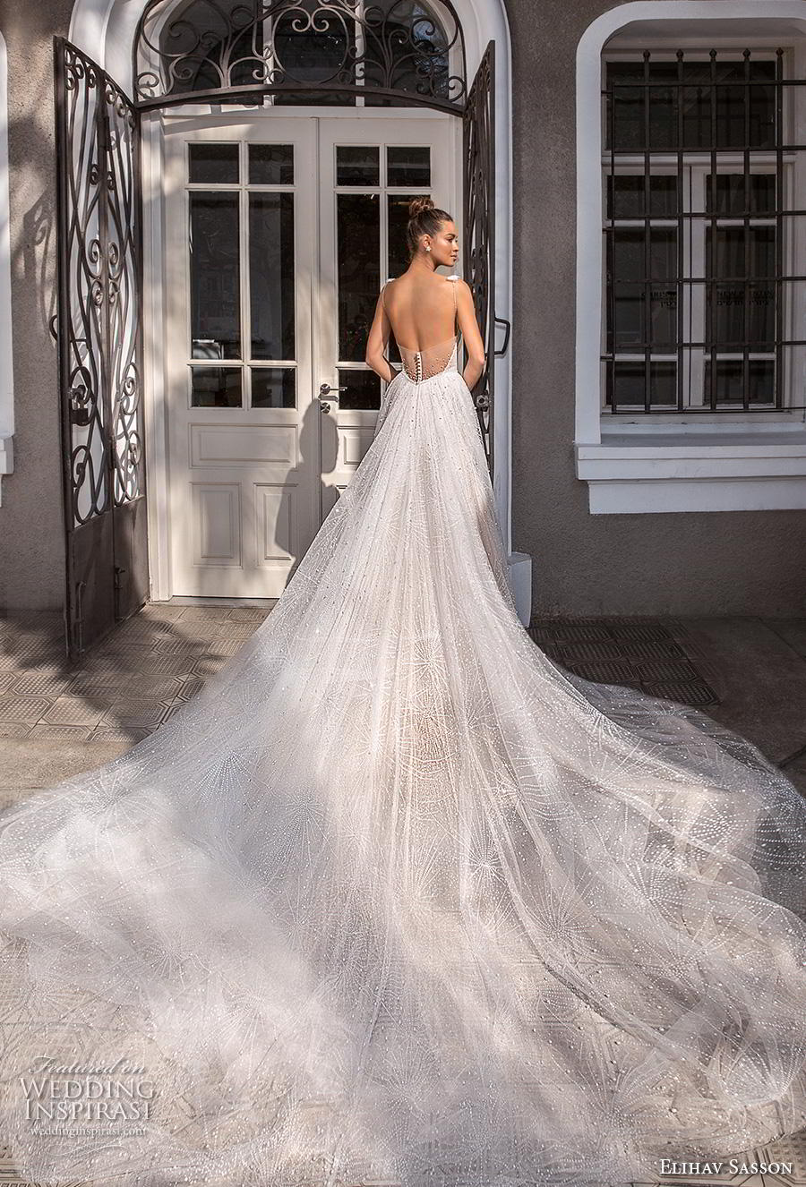 elihav sasson 2019 bridal sleeveless spaghetti strap deep v neck full embellishment glitzy romantic soft a line wedding dress backless royal train (5) bv