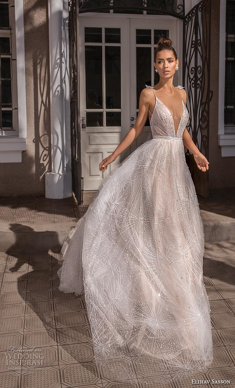 elihav sasson 2019 bridal sleeveless spaghetti strap deep v neck full embellishment glitzy romantic soft a line wedding dress backless royal train (5) mv