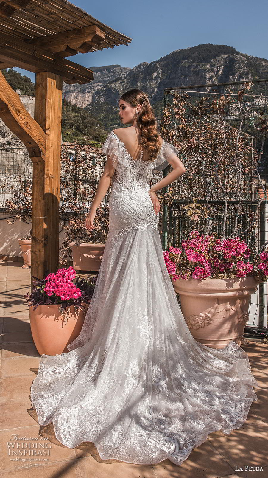 la petra 2019 bridal cap sleeves deep plunging v neck full embellishment elegant bohemian drop waist a  line wedding dress chapel train (6) bv