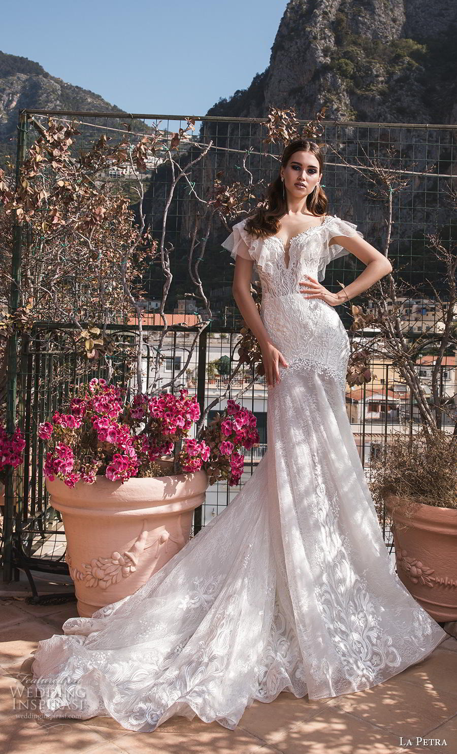 la petra 2019 bridal cap sleeves deep plunging v neck full embellishment elegant bohemian drop waist a  line wedding dress chapel train (6) mv