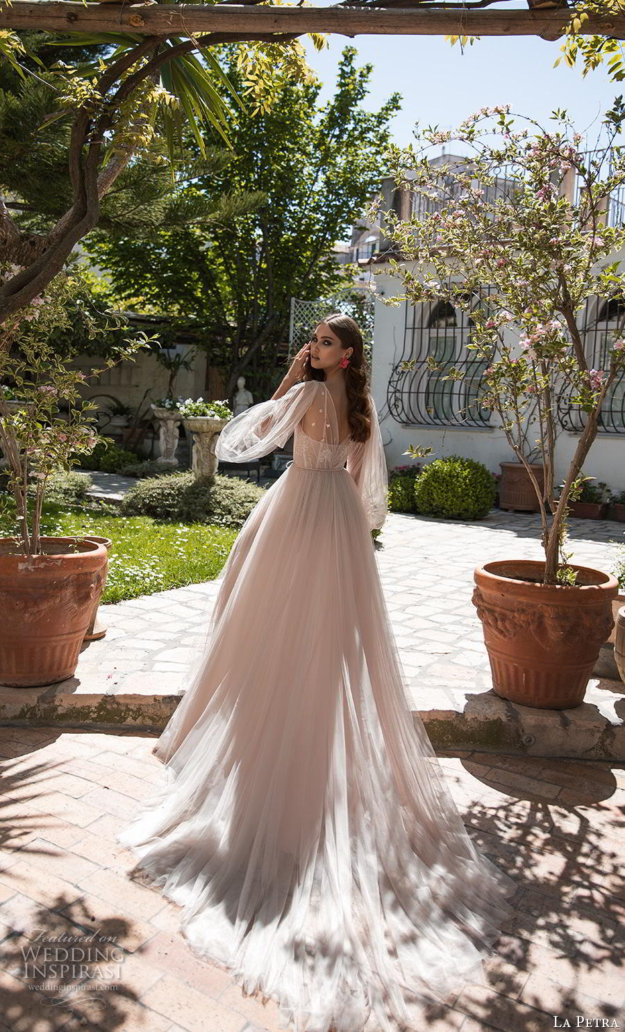la petra 2019 bridal long bishop sleeves illusion jewel sweetheart neckline lightly embellished bodice romantic bohemian blush a  line wedding dress chapel train (15) bv