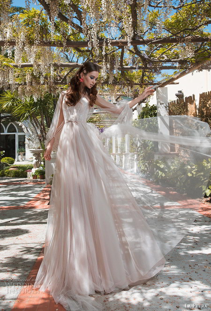 la petra 2019 bridal long bishop sleeves illusion jewel sweetheart neckline lightly embellished bodice romantic bohemian blush a  line wedding dress chapel train (15) mv