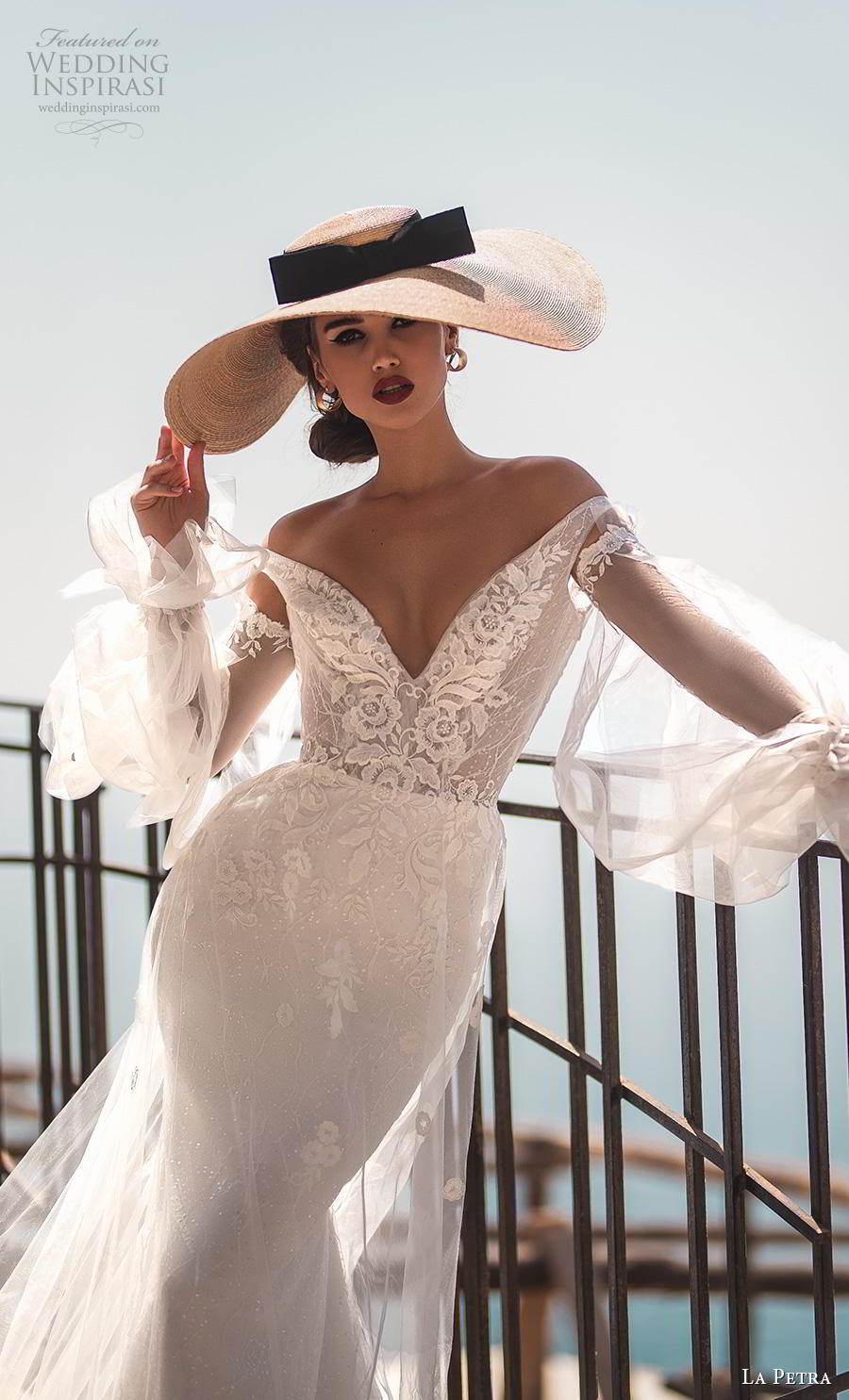 la petra 2019 bridal long poet sleeves off the shoulder v neck heavily embellished bodice elegant romantic fit and flare wedding dress backless chapel train (7) zv