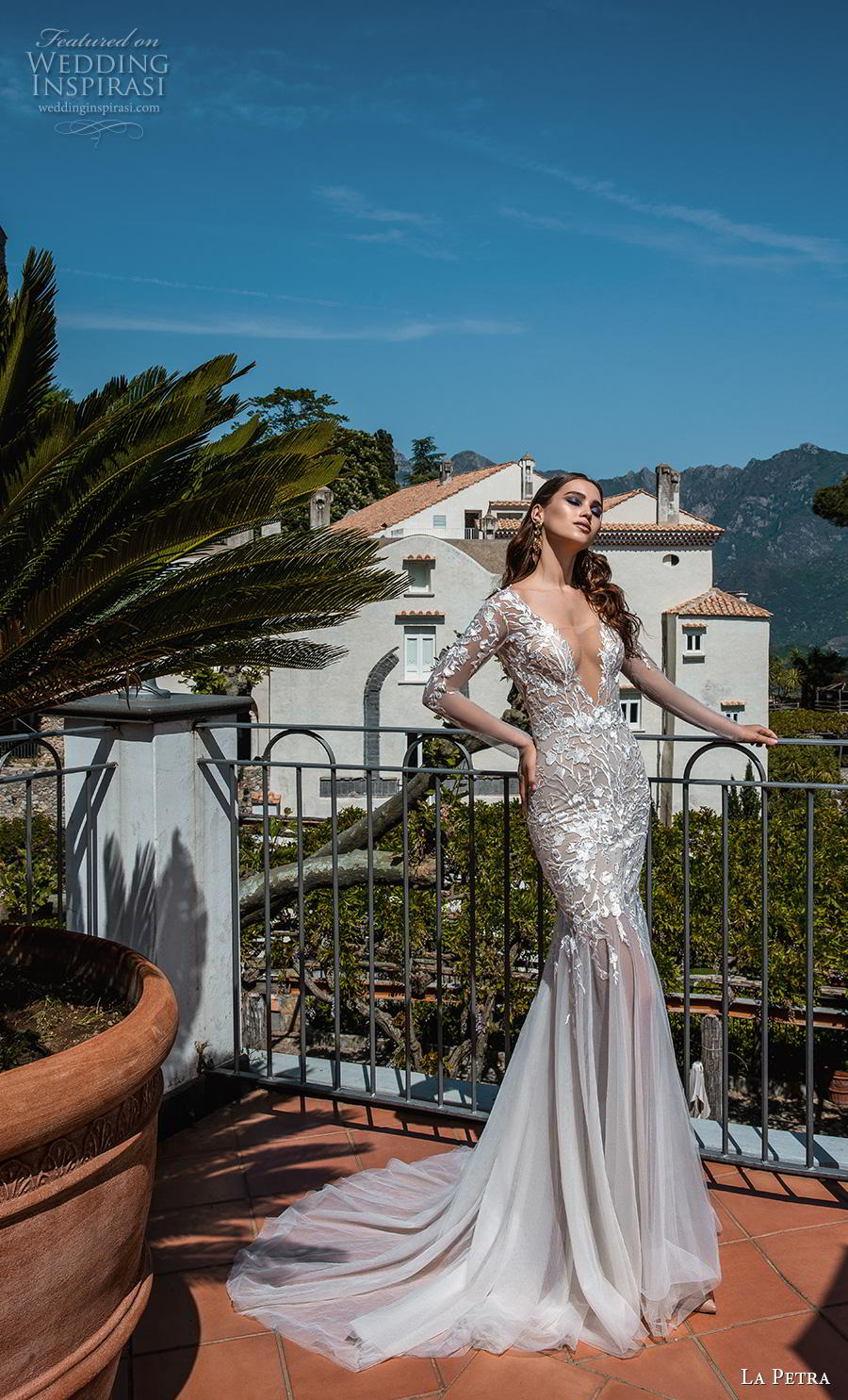 la petra 2019 bridal long sleeves deep v neck heavily embellished bodice glitzy sexy glamorous mermaid wedding dress backless v back chapel train (11) mv