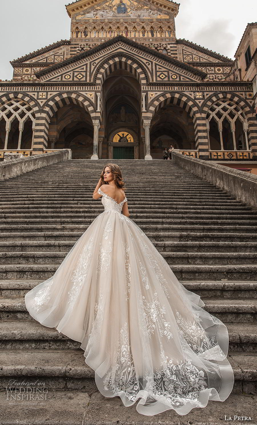 la petra 2019 bridal off the shoulder deep plunging sweetheart neckline full embellishment romantic princess blush ball gown a  line wedding dress royal train (1) bv