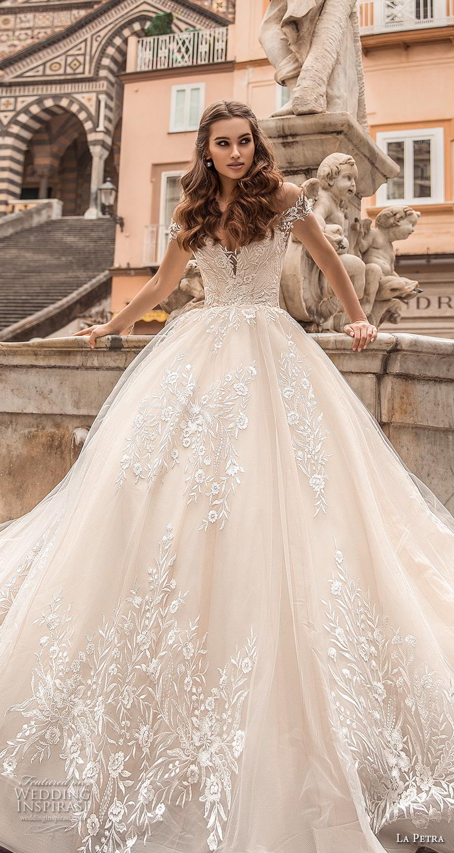 la petra 2019 bridal off the shoulder deep plunging sweetheart neckline full embellishment romantic princess blush ball gown a  line wedding dress royal train (1) lv