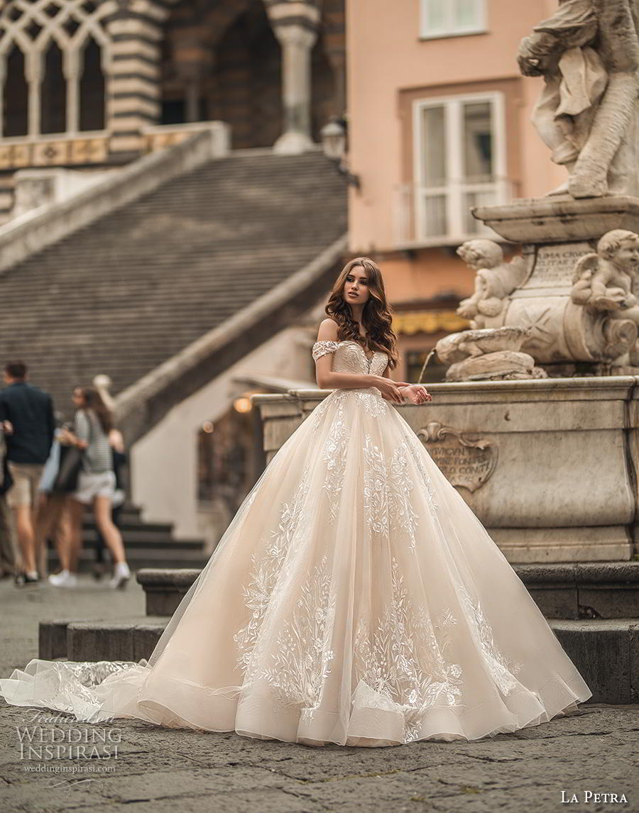 la petra 2019 bridal off the shoulder deep plunging sweetheart neckline full embellishment romantic princess blush ball gown a  line wedding dress royal train (1) mv